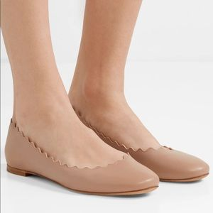 Chloe Lauren Scalloped Nude Flats Size 37 1/2